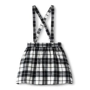 Xhiliration Plaid Skirt with Suspenders